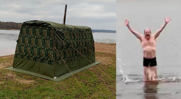 Ett bastutält på stranden och en glad man som badar i en sjö.